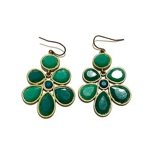 Teal and green earrings